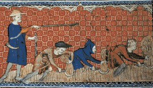 serfs toiling in a field
