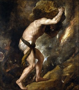 sisyphus rolling a boulder up a hill